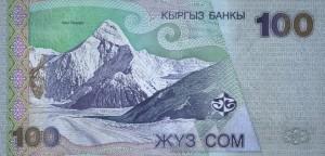 Khan Tengri pe bancnota de o sută de somi, moneda Kârgâzstanului.