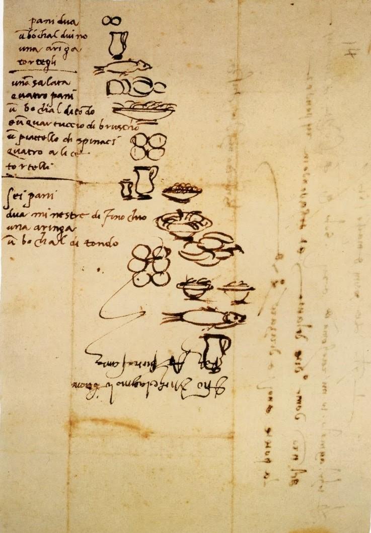 Michelangelo_menu_fish_bread_wine_1518